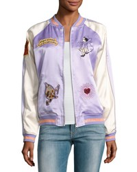 Opening Ceremony Fairytale Embroidered Silk Reversible Bomber Jacket Lavender