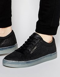 8a23dcfda Religion Leather Croc Trainers Black