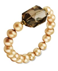 Macy's 18K Gold Over Sterling Silver Bracelet Light Champagne Cultured Freshwater Pearl 8 9Mm And Smokey Quartz 23 3 4 Ct. T.W. Stretch Bracelet Brown