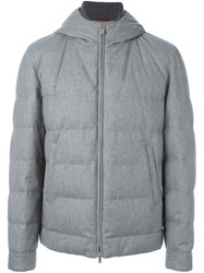 Brunello Cucinelli Zip Up Hooded Jacket Grey