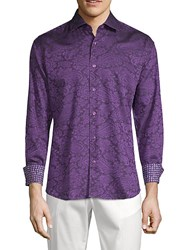 Bertigo Contrast Cuff Fitted Cotton Sportshirt Purple