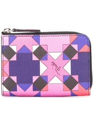 Emilio Pucci Geometric Print Zipped Wallet Pink Purple