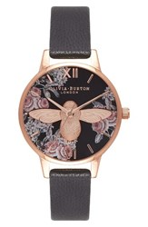 Olivia Burton Women's Leather Strap Watch 30Mm Black Rose Gold