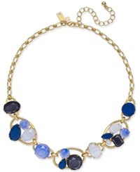 Kate Spade New York Gold Tone Blue Stone Cluster Collar Necklace Blue Multi