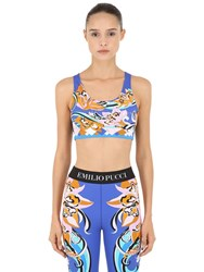 Emilio Pucci Printed Lycra Crop Top Blue Orange