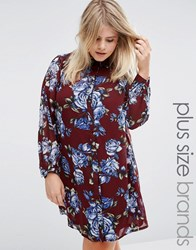 Live In Love Plus Shirt Dress Floral Print Wine Red