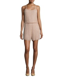 Alice Olivia Mika Sleeveless Beaded Silk Romper Tan