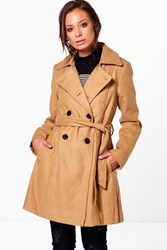 Boohoo Double Breasted Belted Trench Coat Camel
