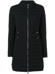 Moncler Long Quilted Jacket Black Silver