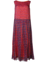 Aspesi Geometric Print Maxi Dress Red