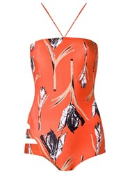 Giuliana Romanno Printed Swimsuit Yellow Orange