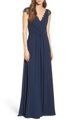 Hayley Paige Occasions Women's Lace And Chiffon Cap Sleeve Gown Navy