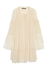Roberto Cavalli Chantilly Lace And Silk Georgette Dress Cream