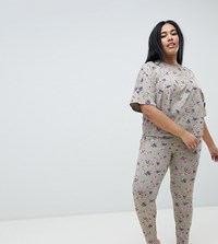 Asos Design Curve Rocket In Space Legging And Boxy Tee Set Grey Marl