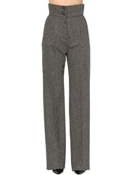 Antonio Berardi High Waist Wool Palazzo Pants Grey