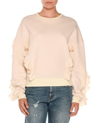 Stella Mccartney Ruffled Crewneck Sweatshirt Gray