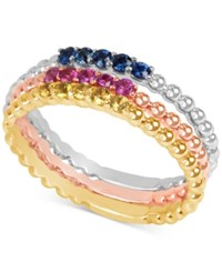 Macy's Multi Sapphire Tri Tone 3 Pc. Set Stacking Rings In 14K White Yellow And Rose Gold Tri Tone
