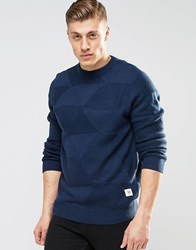 Bellfield Triangle Knitted Knitted Jumper Navy