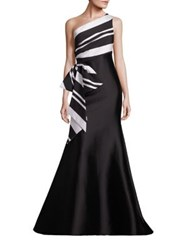 Sachin Babi Rosalynn One Shoulder Bow Detail Gown Onyx