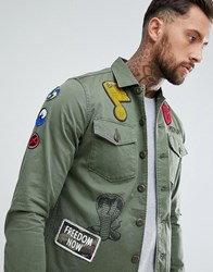 Replay Patch Shacket Green