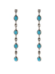 Valentino Turquoise Embellished Long Drop Earrings