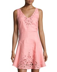 Neiman Marcus Crochet Inset Linen Fit And Flare Dress Pink