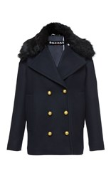 Rochas Fur Collar Pea Coat Navy
