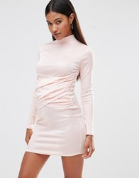 Club L High Neck Bodycon Dress With Wrap Front Detail Blush Pink