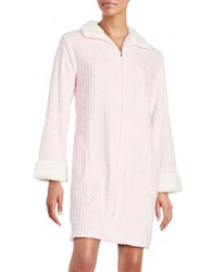 Miss Elaine Sharpa Trimmed Knit Robe Pink