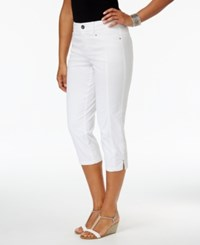 Style And Co Petite Slit Hem Capri Pants Only At Macy's Bright White