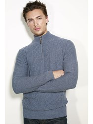 Johnstons Of Elgin Cashmere Aran Zip Neck Sweater Blue