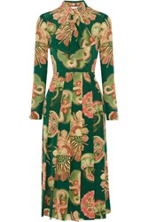Gucci Pleated Printed Silk Crepe De Chine Midi Dress Green