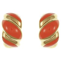 Eclectica Vintage 1970S Christian Dior Gold Plated Enamel Twist Clip On Earrings Gold Coral