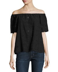 Philosophy Off The Shoulder Eyelet Top Black
