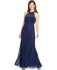 R And M Richards Illusion Lace Halter Gown Navy