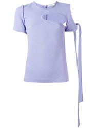 Celine Short Sleeve T Shirt With Cut Out Detail Pink Purple