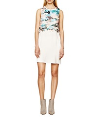 Autograph Addison Laser Cut Popover Dress Natural Blue