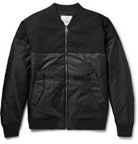 Saturdays Surf Nyc Christo Panelled Shell And Cotton Canvas Bomber Jacket Black