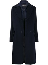 Emporio Armani Oversized Wool Coat Blue