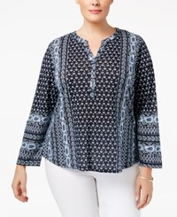 Styleandco. Style Co. Plus Size Printed Peasant Blouse Only At Macy's Folk Stillwater