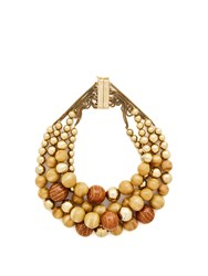 Rosantica By Michela Panero Cicala Layered Wooden Bead Necklace Gold