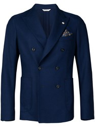 Manuel Ritz Double Breasted Blazer Jacket Blue