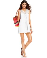 Kenneth Cole Reaction Crochet Top Tunic Cover Up Women's Swimsuit White