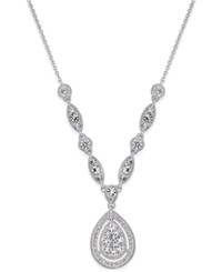 Danori Silver Tone Teardrop Crystal Pendant Necklace