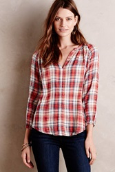 Velvet By Graham And Spencer Autumn Plaid Henley Blouse Red Motif
