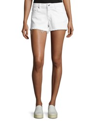 Derek Lam Quinn Mid Rise Slim Girlfriend Jean Cutoff Shorts White