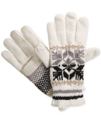 Isotoner Signature Chenille Snowflake Knit Palm Gloves Ivory