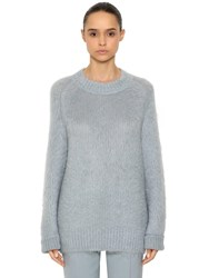 Jil Sander Oversized Mohair And Silk Knit Sweater Light Blue