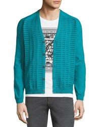 Versace Metallic Stitch V Neck Cardigan Turquoise