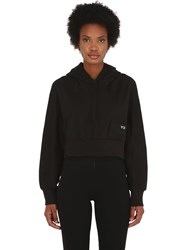 Y 3 Stacked Badge Cropped Cotton Hoodie Black
